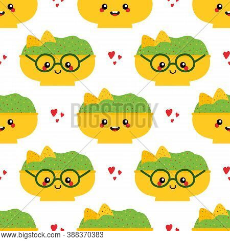 Vector Seamless Pattern Background With Mexican Guacamole Dip, Sauce Bowls Cartoon Characters, Cute