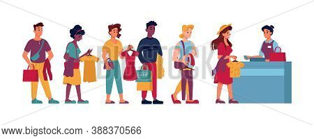 Queue In Clothing Store, People With Clothes In Hands In Line To Cashier, Vector Flat Cartoon Isolat
