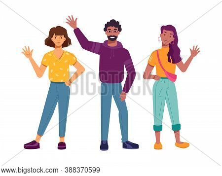 Positive Multiethnic Characters Waving Hands, Isolated Greeting Multiracial People. Community Of Div