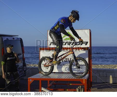 Bari, Italy - 6 April 2019: The Trial Biker Marco Lacitignola Performing With His Show At The