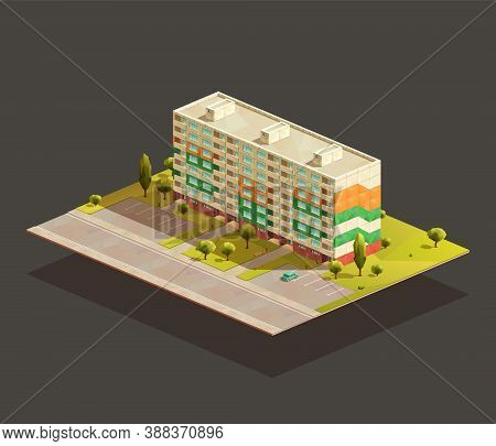 Block Of Flats Isometric Illustration