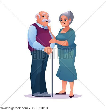 Elderly Couple Man With Stick And Pretty Mature Woman In Dress Isolated. Vector Mature Caucasian Mal