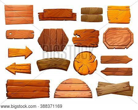 Set Of Wooden Pillars Signboards Isolated Guide Signs Of Wood. Vector Blank Guideposts, Arrows Direc