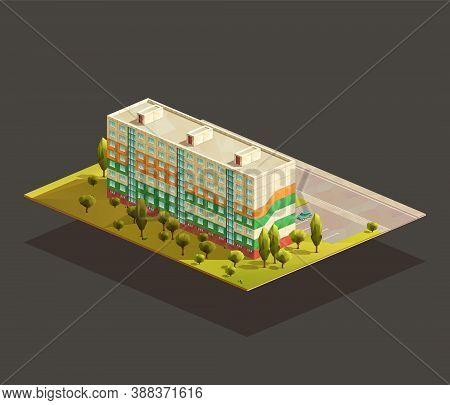 Post soviet Block of flats isometric realistic illustration. Polygonal vector building