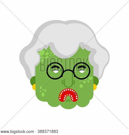 Granny Zombie Head Isolated. Dead Green Grandmother Monster. Scary Grandma