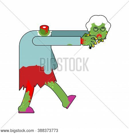 Granny Zombie Isolated. Dead Green Grandmother Monster. Scary Grandma