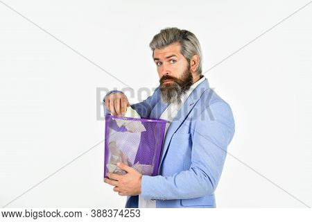 Nobody Should See. Businessman Hold Trashcan. Man In Office Look For Lost Note In Paper Bin. Crumple
