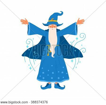 Wizard With Gray Haired Beard Raising Hands Pronounce Magic Spell Vector Flat Illustration. Old Sorc