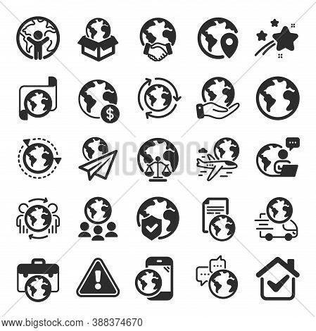 World Business Icons. Global Law, Translate Language, Outsource Business. International Organization