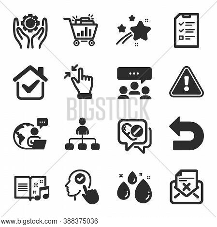 Set Of Business Icons, Such As Meeting, Management, Medical Drugs Symbols. Seo Shopping, Reject Lett