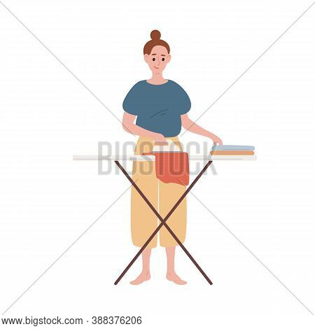 Happy Modern Housewife Ironing Clothes Vector Flat Illustration. Smiling Woman Making Routine Housew