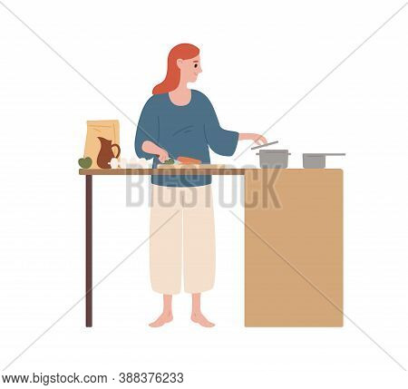 Happy Modern Housewife Cooking Food At Kitchen Vector Flat Illustration. Smiling Woman Preparing Mea