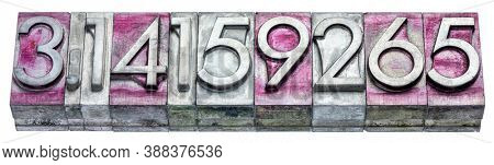 numerical representation of the pi number in vintage, gritty metal letterpress type stained by printing ink, isolated on white