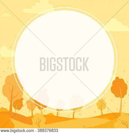 Autumn Abstract Background With Forest And Meadow, Dry Leaf Falling From The Tree To The Field