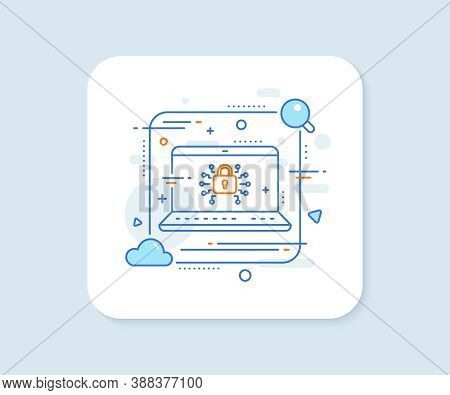 Security Lock Line Icon. Abstract Vector Button. Cyber Defence Sign. Private Protection Symbol. Secu