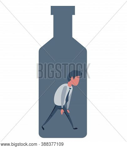 Alcohol And Addiction, Young Male Character Trapped Inside A Bottle, Health Problems. Vector Flat De