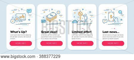 Set Of Finance Icons, Such As Discount, Dollar, Candlestick Chart Symbols. Mobile Screen App Banners