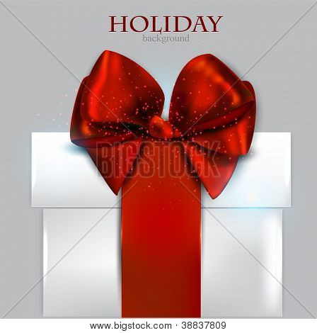 Elegant Christmas gift with red bow and space for text. Vector background