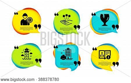 Construction Building, Engineer And Fragile Package Icons Simple Set. Speech Bubble With Quotes. Con