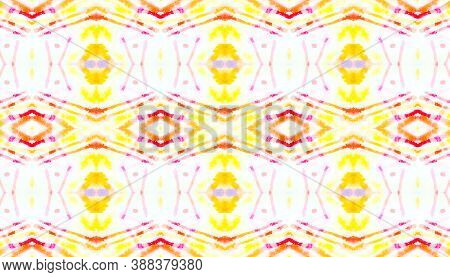 Folk Tribal Seamless Pattern. Geometric Ethnic Wallpaper. Red And Yellow Colors. Abstract Handdrawn