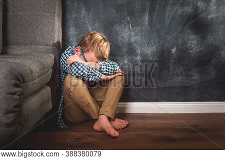 Alone Kid Shout. Child Abuse. School Kid Boy Bully And Sad. Violenc In Family Form Parent. Anxiety A