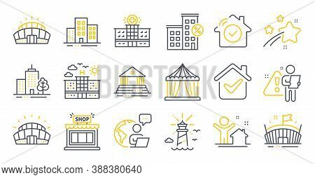 Set Of Buildings Icons, Such As Shop, Skyscraper Buildings, Circus Tent Symbols. Arena Stadium, Buil