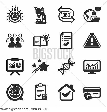 Set Of Technology Icons, Such As Change Card, Presentation, Accounting Checklist Symbols. Product Kn