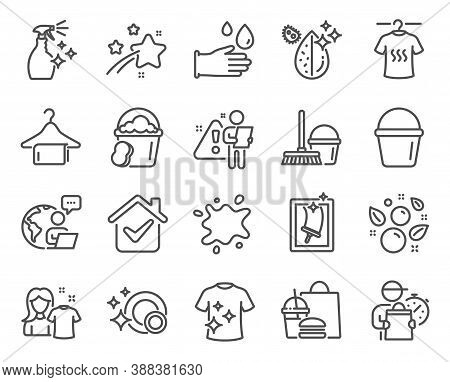 Cleaning Icons Set. Included Icon As Bucket, Dirty Spot, Window Cleaning Signs. Clean Bubbles, Spong
