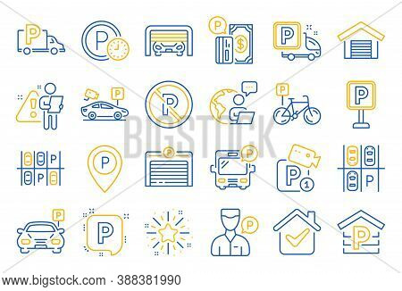 Parking Line Icons. Car Garage, Valet Servant And Paid Transport Parking Icons. Video Monitoring, Bi