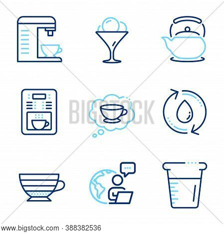 Food And Drink Icons Set. Included Icon As Cooking Beaker, Cappuccino, Refill Water Signs. Ice Cream