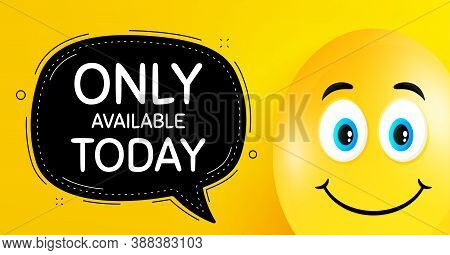 Only Available Today. Easter Egg With Smile Face. Special Offer Price Sign. Advertising Discounts Sy