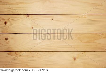 Wood Plank Grain Texture, Wooden Board Stripped Fiber. Close View Of Wooden Plank Table. Old Brown R