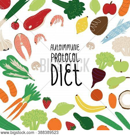 Autoimmune protocol diet banner. The vegetables, fruits, green, meat and seafood allowed on AIP nutrition and lettering.