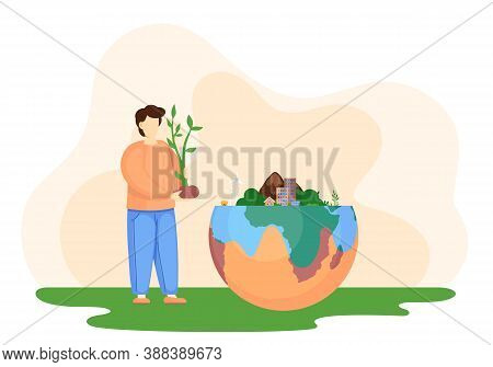 Change Climate Factory. A Man Holds A Sprout In His Hands, Takes Care Of The Purity Of Nature. Envir