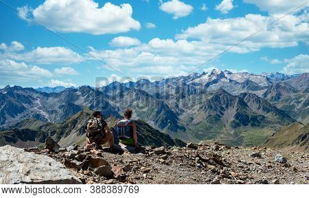 Young Couple Of Hiker In The French Pyrenees Mountains