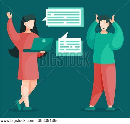 Women Discussing Business Issues Effective Time Management Concept. Vector Illustration Of Female Wo