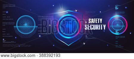 Innovative Cyber Banner With Security Shield. Protective Cyber Technologies. Protection Concept. Shi