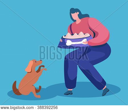 Woman Going To Feed Dog Sitting With Paws Up Isolated Canine Animal And Pet Owner In Flat Cartoon St