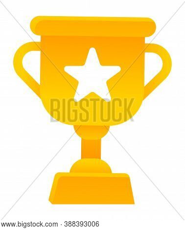 Golden Cup With Handles, Pedestal And Star. Isolated Icon Of Award For Winner Of Challenge Or Compet