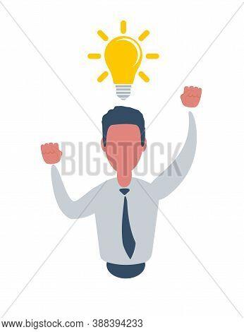 Man And Yellow Lamp Overhead. Idea Generation. Creating Business Idea. New Technologies. Vector Illu