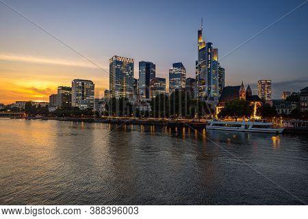 Frankfurt / Germany - September 30 2020: Sunset At The Skyline Of Frankfurt In Hessen, Germany