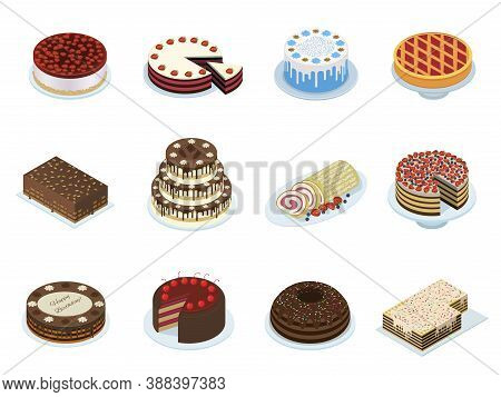 Cakes Layered Puff Tiered Pastry Icons Set. Chocolate, Waffle, Fruit Gateau, Sweet Roll.