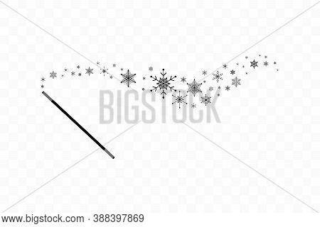 Magic Wand With A Snowflakes. Trace Of Black Dust. Magic Abstract Background Isolated On On Transpar