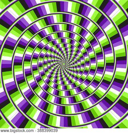 Optical Motion Illusion Vector Background. Purple Green Glitch Stripes Move Around The Center.