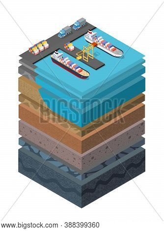 Soil Layers Cross Section Geological Sea Surface Ship Harbor