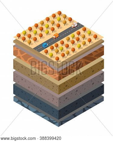 Soil Layers Cross-section Geological And Underground Beneath