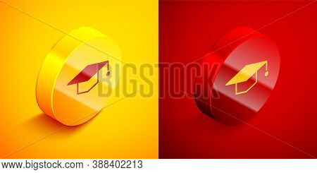 Isometric Graduation Cap Icon Isolated On Orange And Red Background. Graduation Hat With Tassel Icon