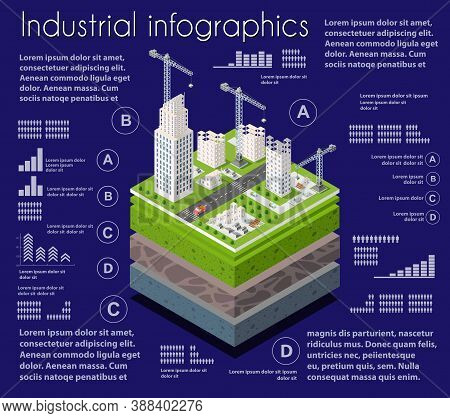Infographics Industrial Geological And Underground Layers Of Soil Under The Isometric