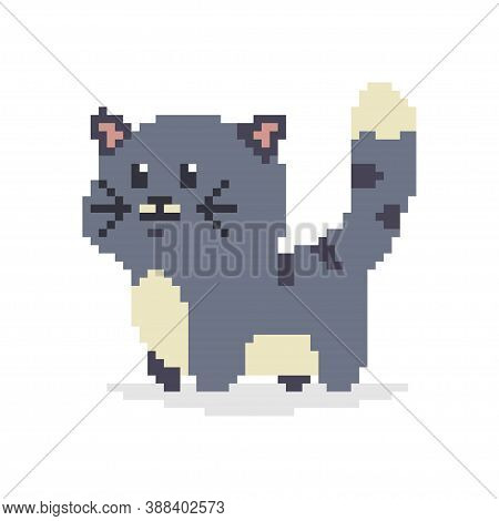 Pixel Art Cat. Vector 8 Bit Game Animal Character Isolated On White Background.