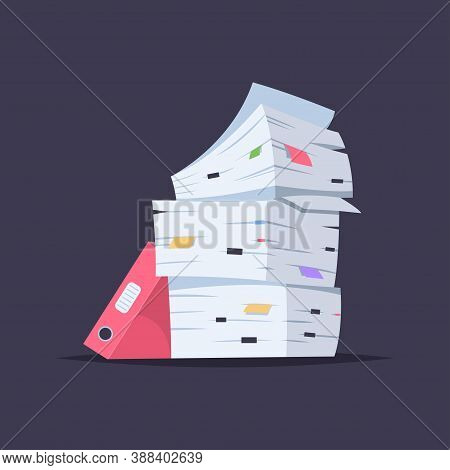 Stack Of Documents, Files And Folders. Vector Cartoon Flat Illustration Of Office Paper Pile Isolate